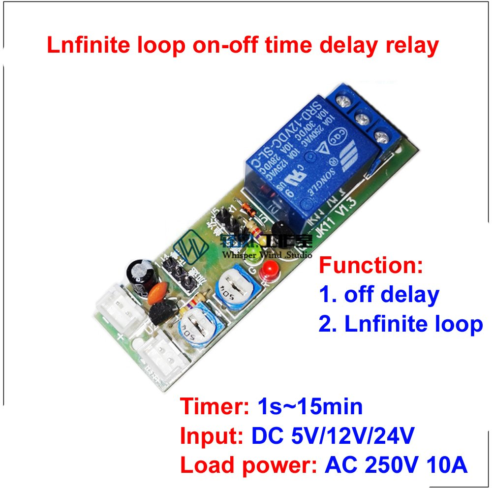 Qianson Dc 5v 12v 24v Infinite Cycle Delay Timing Timer Relay On Off Circuit Switch Loop Module 1s15min