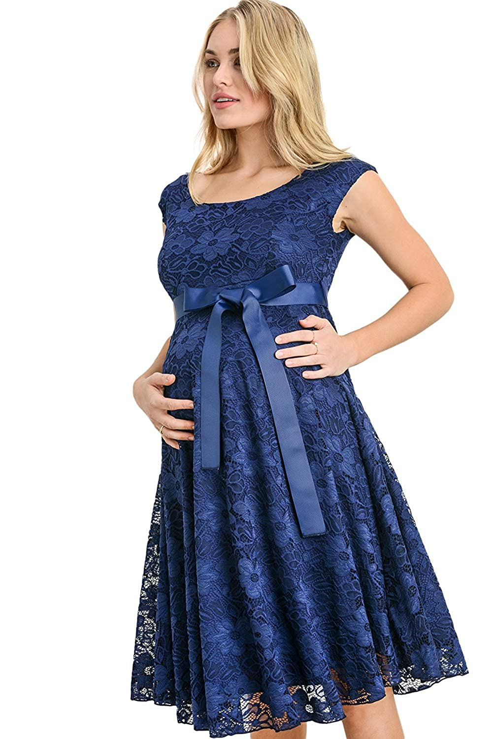 c9b51f14906 Hello MIZ Maternity Floral Lace Baby Shower Party Cocktail Dress With Ribbon  Waist CMD1064-DKMAUVE