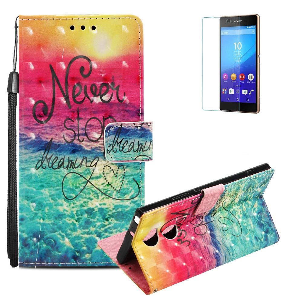 Funyye Sony Xperia XA2 Ultra Case [with Free Screen Protector], Stylish [Lanyard Strap] Magnetic Flip Soft Silicone PU Wallet Leather Case with Credit Card Holder Slots Stand Function Case for Sony Xperia XA2 Ultra, Blue Flower