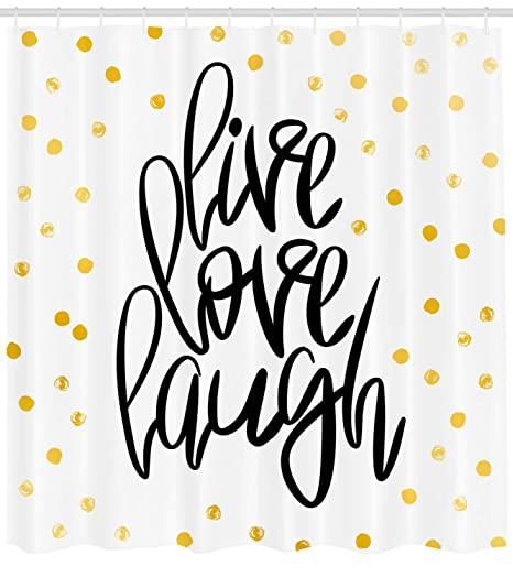 Live Laugh Love Decor Shower Curtain By Ambesonne Stilizzato