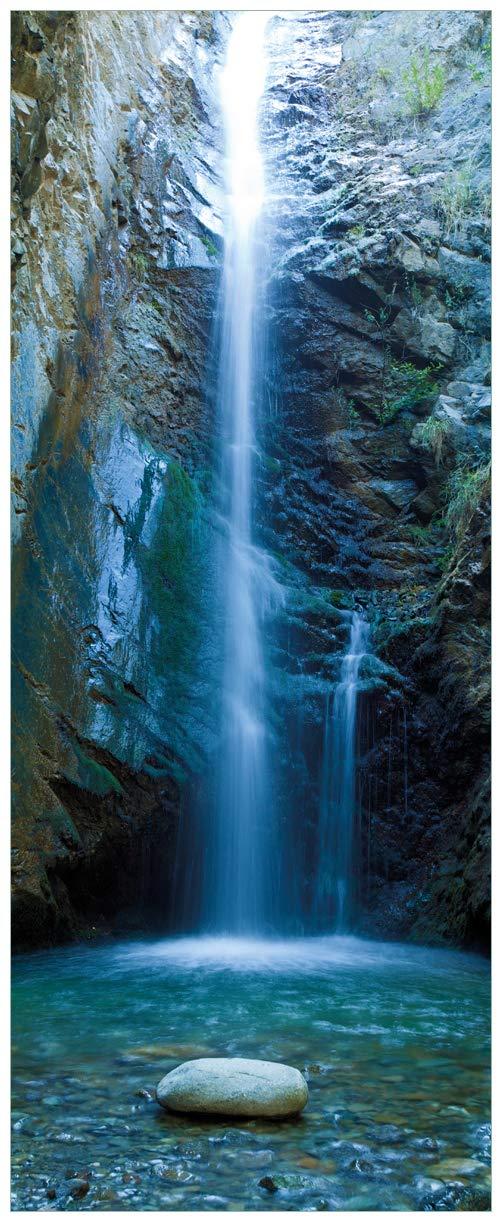 Wallario Glasbild Wasserfall bei Sonneneinfall - 50 x 125 cm in Premium-Qualität  Brillante Farben, freischwebende Optik