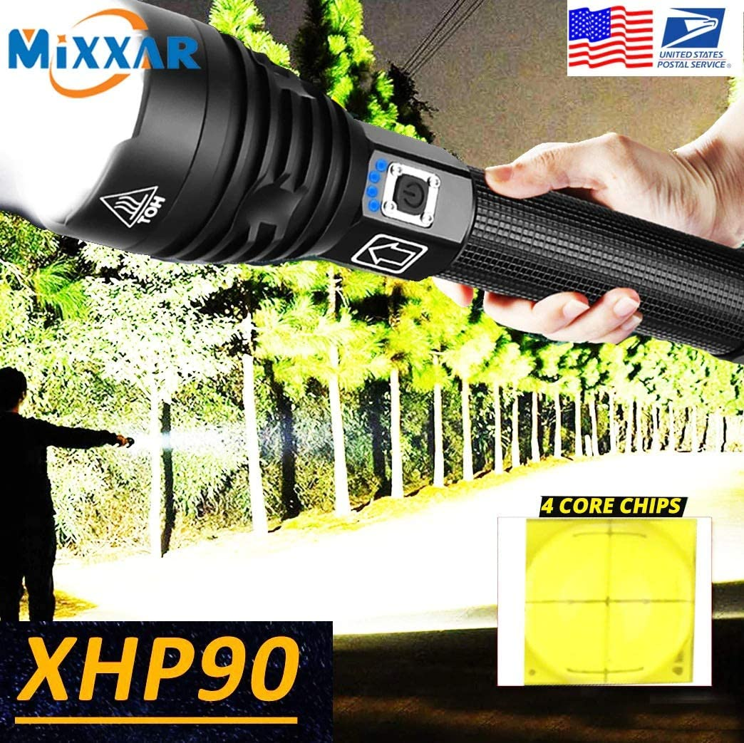Handheld Light LED Flashlight Zoom USB Rechargeable Power Display Powerful Torch for Jogging Hiking Walking (Color : A) B