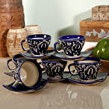 Unravel India Mughal Handpainted Cup Saucer(Set Of 6)