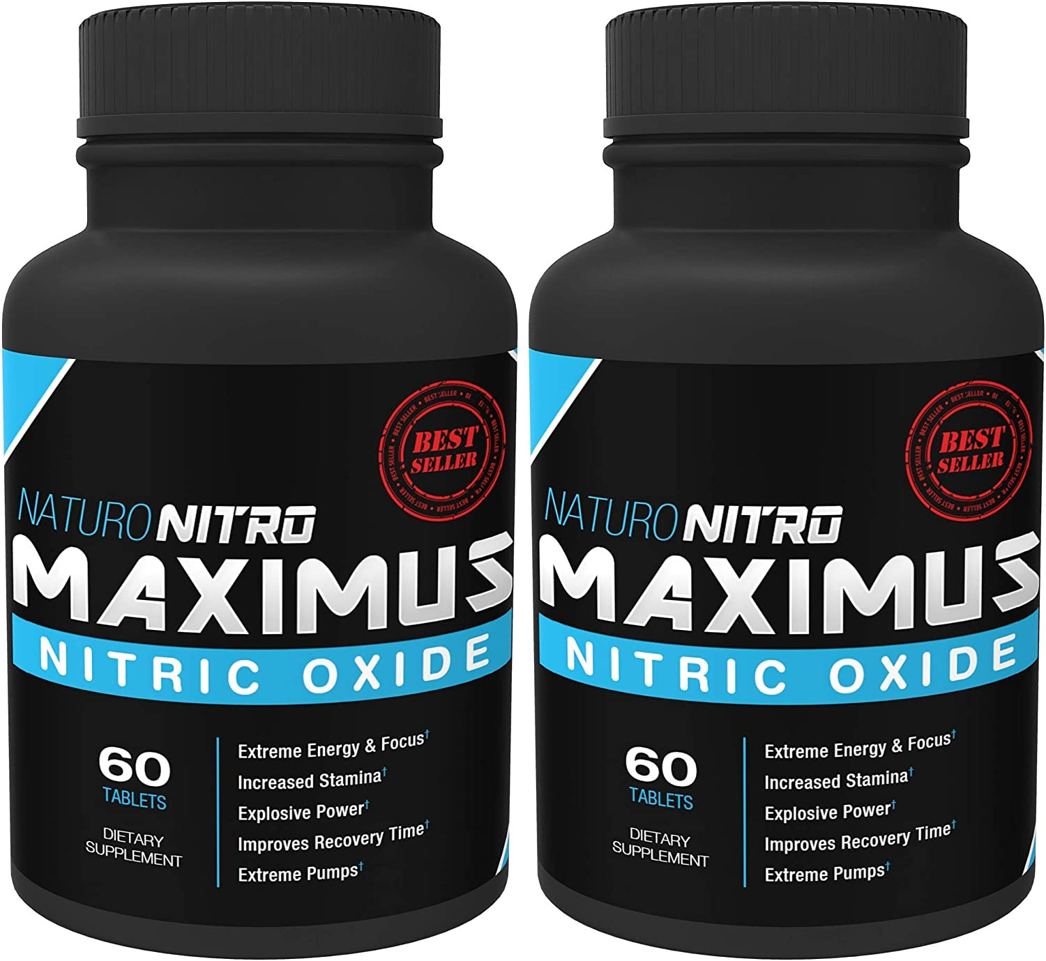 Maximus Nitric Oxide Nitric Oxide Tablets High Potency NO Booster and L-arginine Supplement – Allows You to Build Muscle Faster, Workout and Train Longer and Harder 60ct, Pack of 2