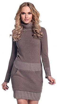72f8d512872a3b Damen Strickkleid Minikleid mit Stehkragen und Tasche vorne. 178  (Cappuccino