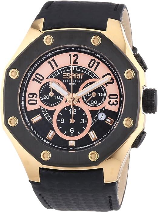 Esprit Collection kronos black rosegold EL101291F04 - Reloj cronógrafo de cuarzo para hombre, correa de cuero color negro (cronómetro, agujas luminiscentes)