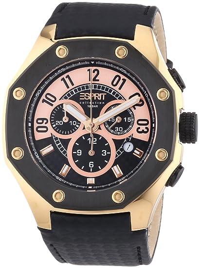 Esprit Collection kronos black rosegold EL101291F04 - Reloj cronógrafo de cuarzo para hombre, correa de