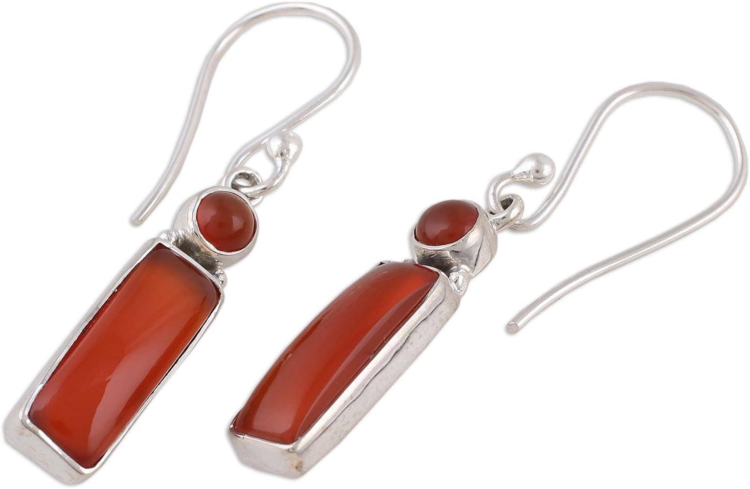 Carnelian teardrop faceted earrings with silver wire wrapped on oxidized sterling silver hooks style FBA