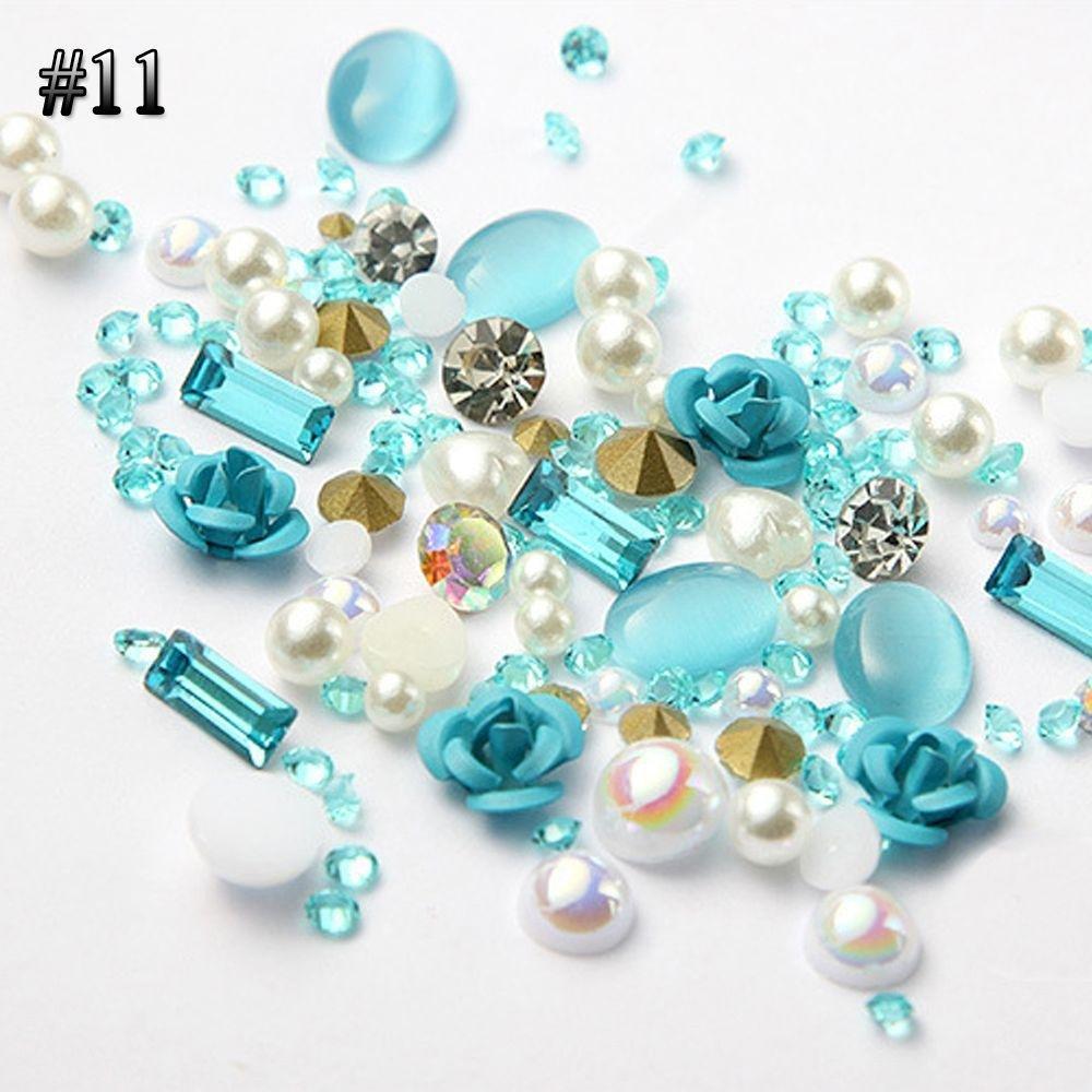 Miswilsi Beauty Jewelry Glitter Mix Gems Alloy Rose Nail Art Rhinestones 3D Flowers