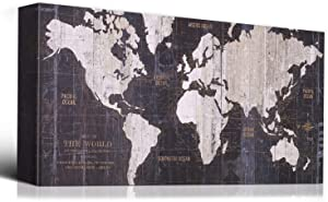 Laoife 40x20 Inch World Map Wall Art on Canvas Giclee Prints Paintings Travel Map of The World Children Education Artwork for Home Decoration