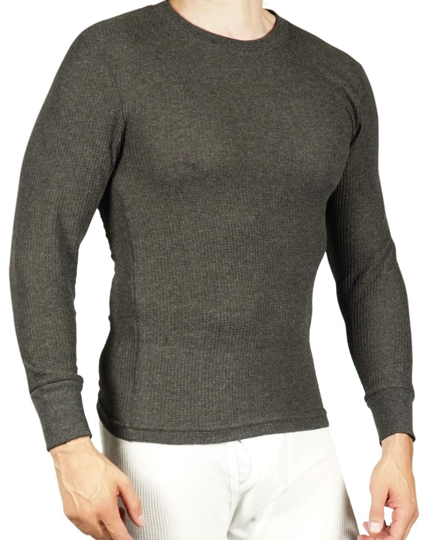 Joe Boxer Men's Thermal Crew Neck Top - Long Sleeve Undershirt - 2 Pack (Charcoal Grey, Small) by Joe Boxer