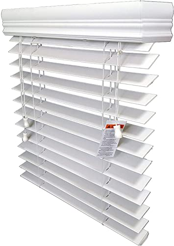 Custom Made 2 inch Faux Wood Horizontal Window Blinds, fauxwood, You Pick Size, Color, Inside or Outiside Mount, Cord Left or Cord Right, with Free Upgrade Royal Crown Valance
