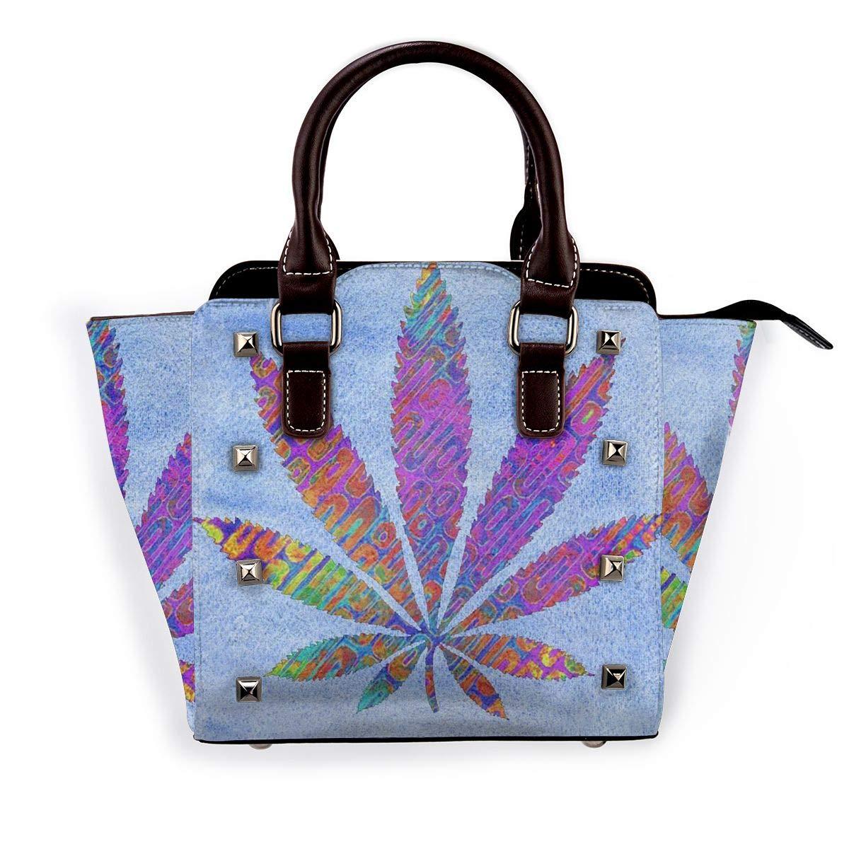 Use4 Marijuana Leaves Green Rivet PU Leather Tote Bag Shoulder Bag Purse