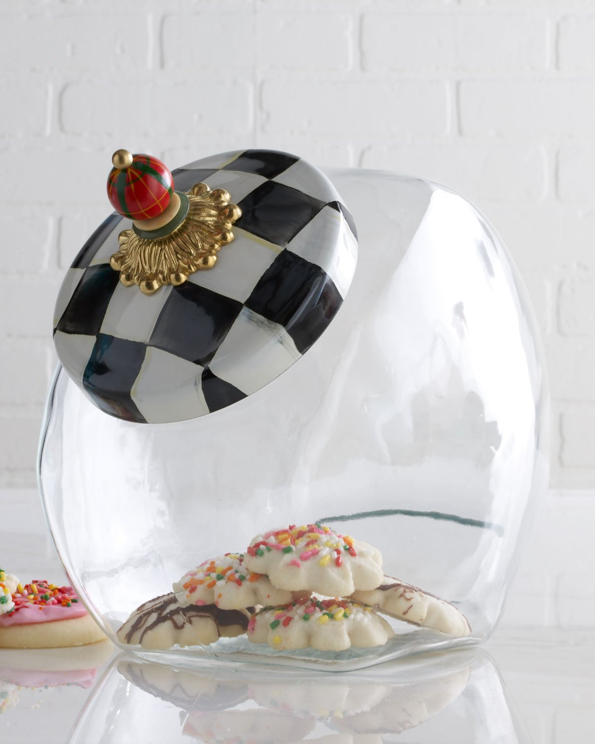 MacKenzie-Childs Cookie Jar With Courtly Check Enamel Lid 6'' wide, 8'' tall,