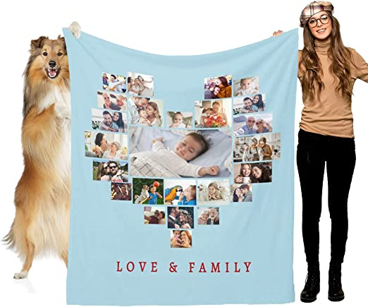 L LULUJAY Custom Blanket Personalized Throw Blanket with Photo Text Design Customized Gifts for Mom Baby Pet Family and Friends(45
