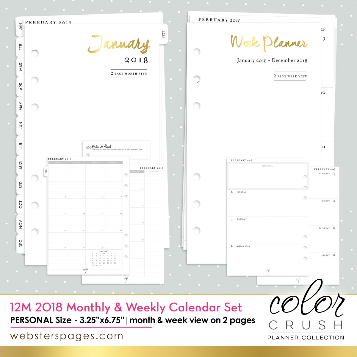 Webster's Pages Personal Size 2018 12-Month Week and Month Calendar (P1034)