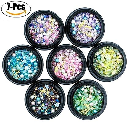 Kapmore 7 Cajas Uña Art Diamante de Imitación DIY Uña Joyería Moda Clasificado Colores Tamaños Uña