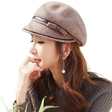 4512c583d0ff86 Womens Beret Visor Cloche Hat 100% Wool Newsboy Cap Baker Boy Hat Ivy  Gatsby Flat