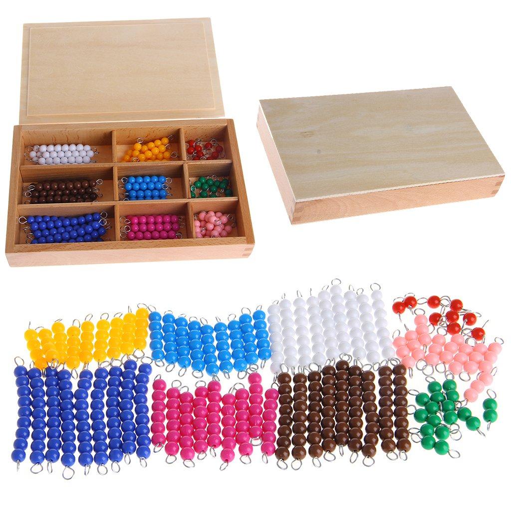 Lamdoo Mat/ériel de math/ématiques Montessori 1-9 Perles dans Un Coffret en Bois