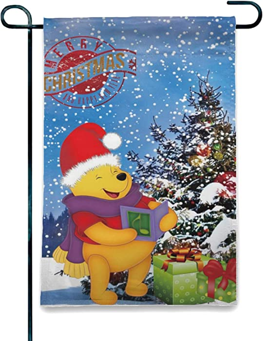 WOMFUI Cartoons Winnie The Pooh Garden Flags for Home Outdoor/Indoor Yard Christmas Decoration, 12.5 X 18 Inch