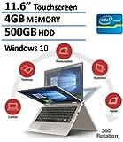 "2016 Toshiba Satellite Radius Premium 11.6"" 2-in-1 Touchscreen Convertible Laptop (Intel Quad-Core Pentium N3700, 4GB RAM, 500GB HDD, Bluetooth, Webcam, WiFi, HDMI, Windows 10) - Satin Gold"