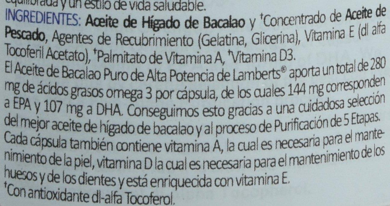 Lamberts Aceite de Higado de Bacalao 1000mg - 180 Cápsulas: Amazon.es: Salud y cuidado personal
