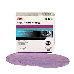 3M Hookit Purple Finishing Film Abrasive Disc 260L, 30666, 6 in, P2000, 50 discs per carton