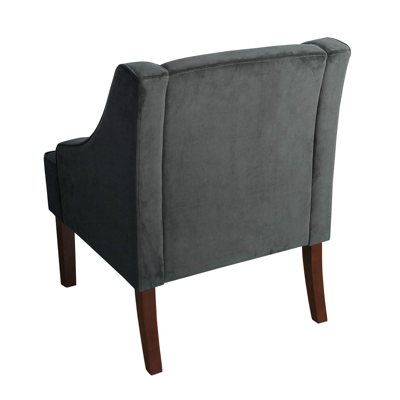 Navy Velvet Kinfine Swoop Arm Accent Chair