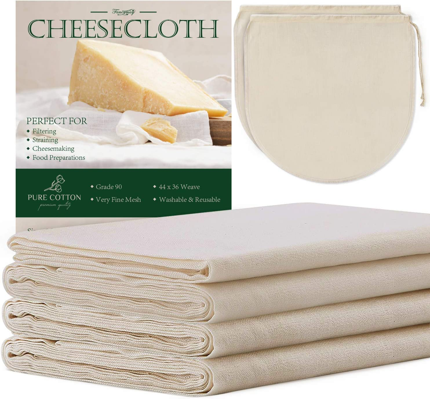 6 Yards Grade 90 Cheesecloth 54 Sq Feet + 2 Pack 12