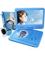 """FUNAVO 10.5 """" Portable DVD Player, Swivel Screen, 3 Hours Rechargeable Battery, with Matching Headphone and Bag, Supports SD Card and USB Port, Direct Play in Formats AVI/RMVB/MP3/JPEG (Blue)"""