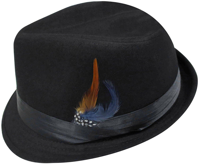 Simplicity Men Women Manhattan Structured Gangster Trilby Wool Fedora Hat 3071_Bk/Charcoal One Size GP13081041