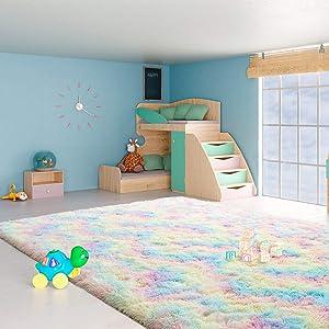 Ucomn Fluffy Velvet Rainbow Area Rug, Plush and Shaggy Comfy Indoor Carpet, Colorful and Cute Home Decor for Girls Kids Living Room Bedroom Nursery, 5'x 8' Rainbow