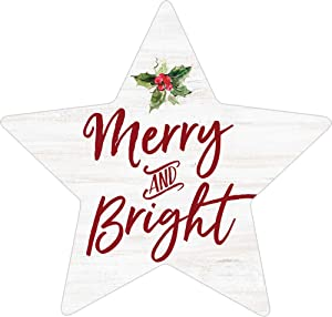 P. Graham Dunn Merry and Bright Rosy Red 3.4 x 3.25 Pine Wood Christmas Small Shape Sign