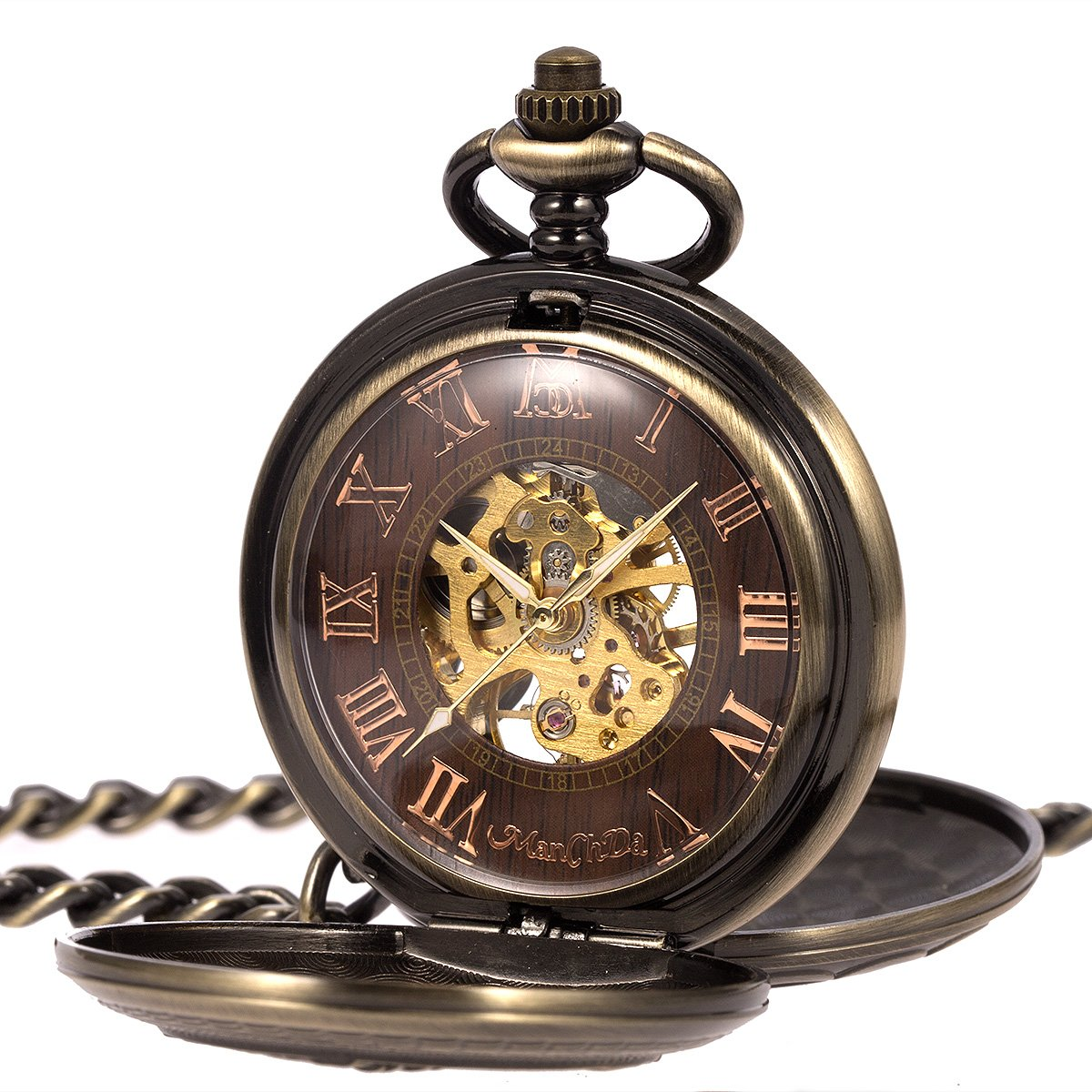 ManChDa Antique Mens Pocket Watch Mechanical Double Open 3D Steam Train Railroad Ruman Numerals