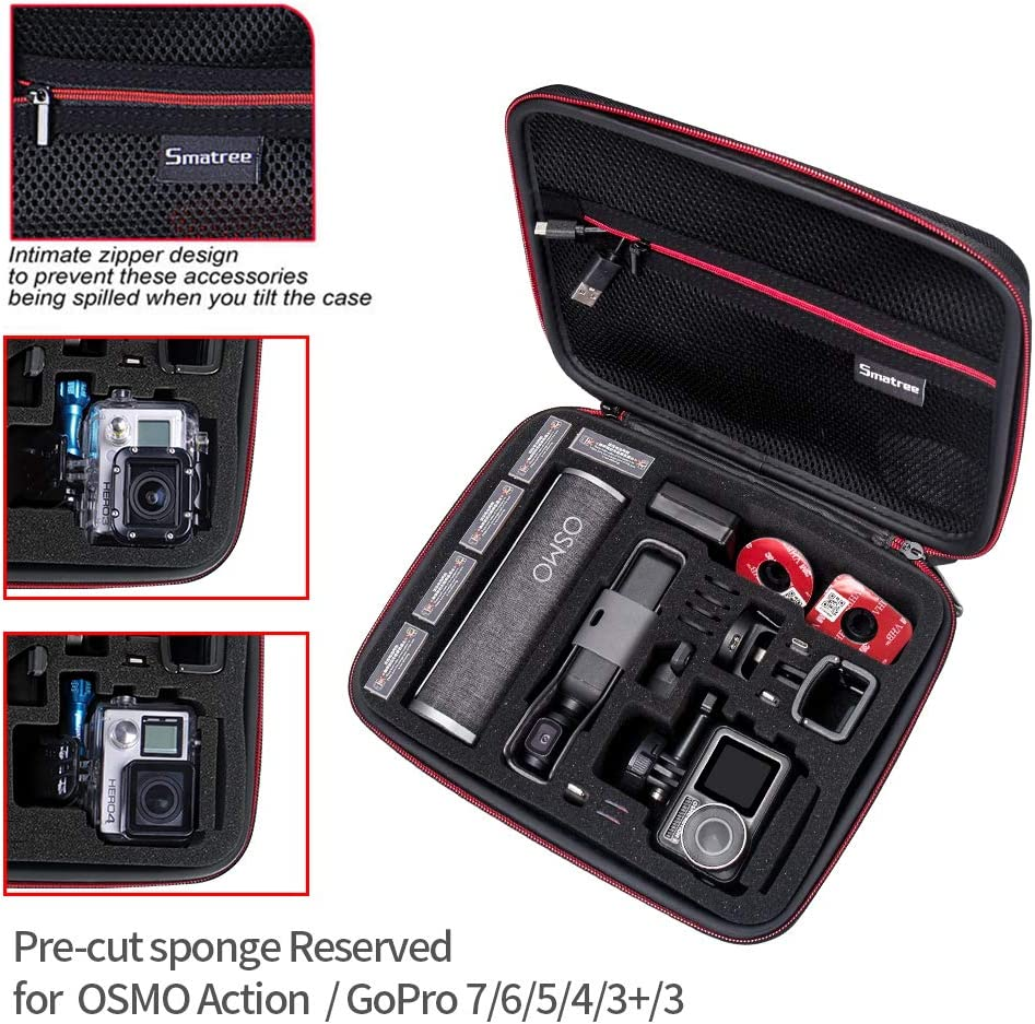 Smatree Carrying Case Compatible with DJI Osmo Pocket//Charging Case//Osmo Action//Gopro Hero 8//7// 6//5 Renewed