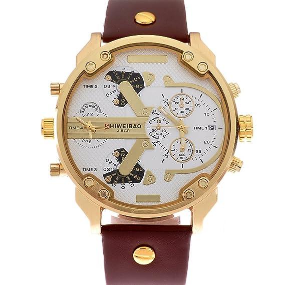 shiweibao reloj deportivo para hombre relojes quartz-watch vestido de cuero reloj militar Relojes de pulsera.: Amazon.es: Relojes