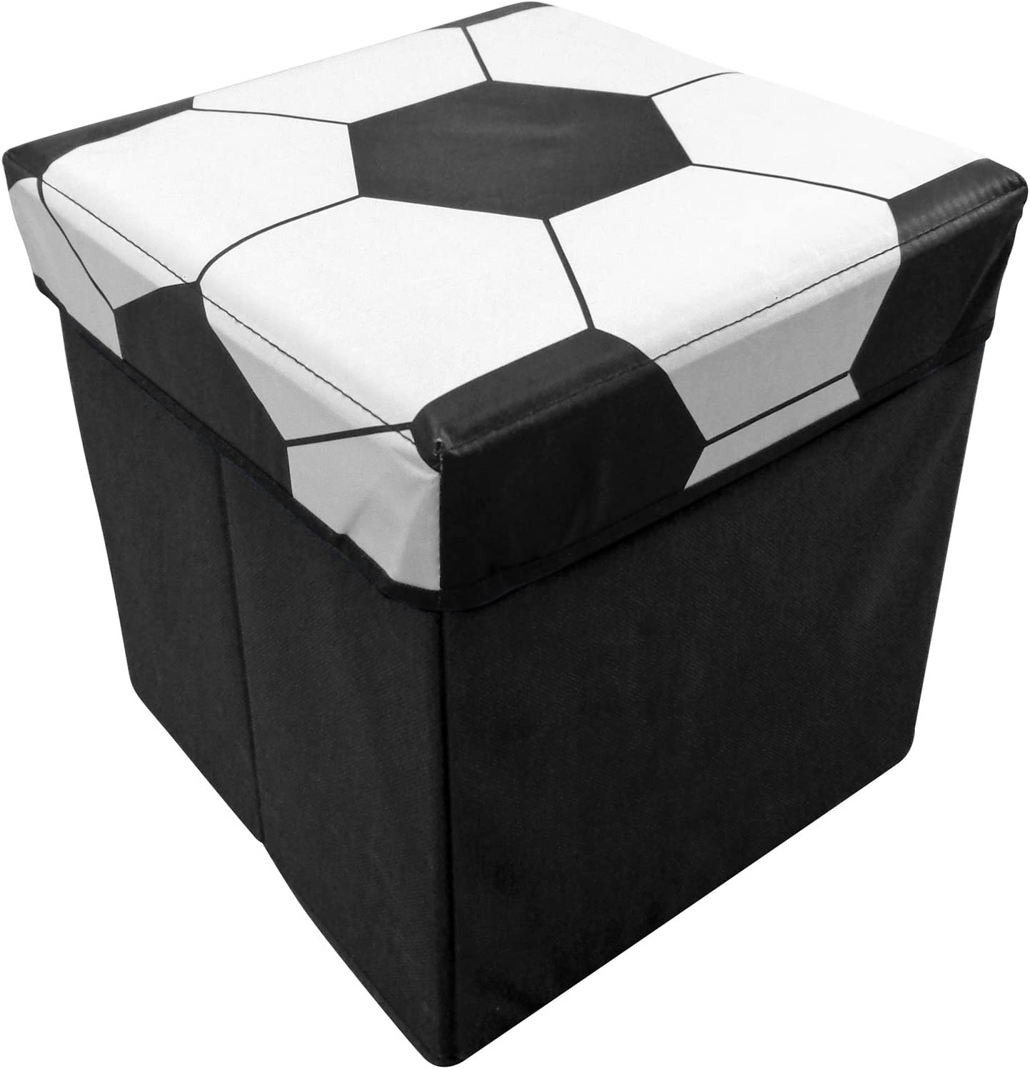 Country Club - Caja de almacenaje infantil con tapa (cuadrada, 30 x 30 x 32 cm), tapa con diseño de pelota, color negro: Amazon.es: Hogar