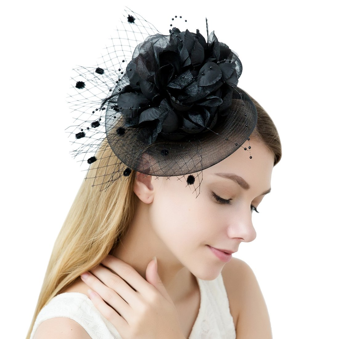 Flower Fascinator Hats Women With Veil Feather Headband Headwear Tea Party Derby
