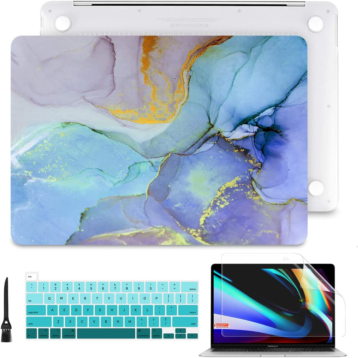 Batianda Laptop Case for MacBook Pro 13 2020 Rlease Plastice Hard Shell Cover with Keyboard Cover and Screen Protector Model A2289/A2251,Colorful Marble
