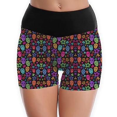 Flower Sugar Skull Garden Women's Yoga Shorts Pants Running Shorts Slim Fit