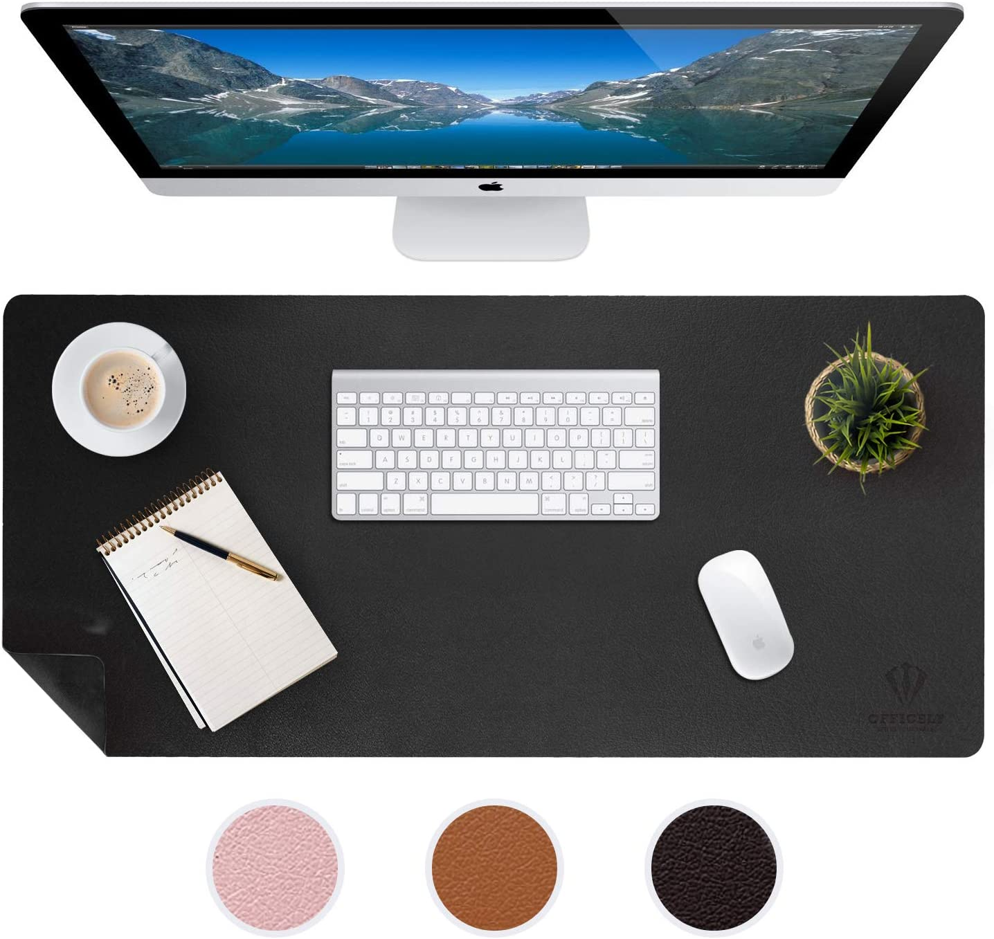 Large Leather Desk Mats for Keyboard and Mouse Pad, Anti-Skid Backing with Heat Resistant and Waterproof Surface, Responsive Desktop for Gaming, Writing, or Home Office Work (Black, 24X48)