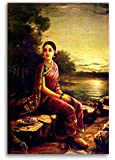 Tamatina Raja Ravi Varma Radha In The Moonlight Indian Canvas Paintings for Home Decor, Bedroom, Living Room, 23x35-inch(Multicolour)
