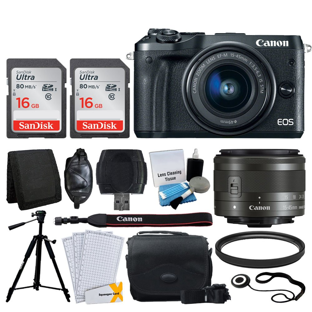 Canon EOS M6 Mirrorless Digital Camera + EF-M 15-45mm f/3.5-6.3 is STM Lens (Graphite) + 32GB Memory Card + Camera/Camcorder Bag + Quality Tripod + USB Card Reader + 49mm UV Filter - Accessory Bundle by Photo4Less