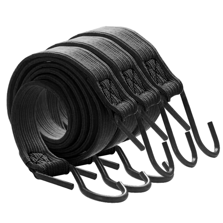 Pack 3 Pulpos El/ásticos de Sujeci/ón.Cuerda de Remolque Pulpos para baca Cuerda el/ástica Tensor de Dise/ño Plano para no Da/ñar la Carga Bungee Cuerda El/ástica de Equipaje