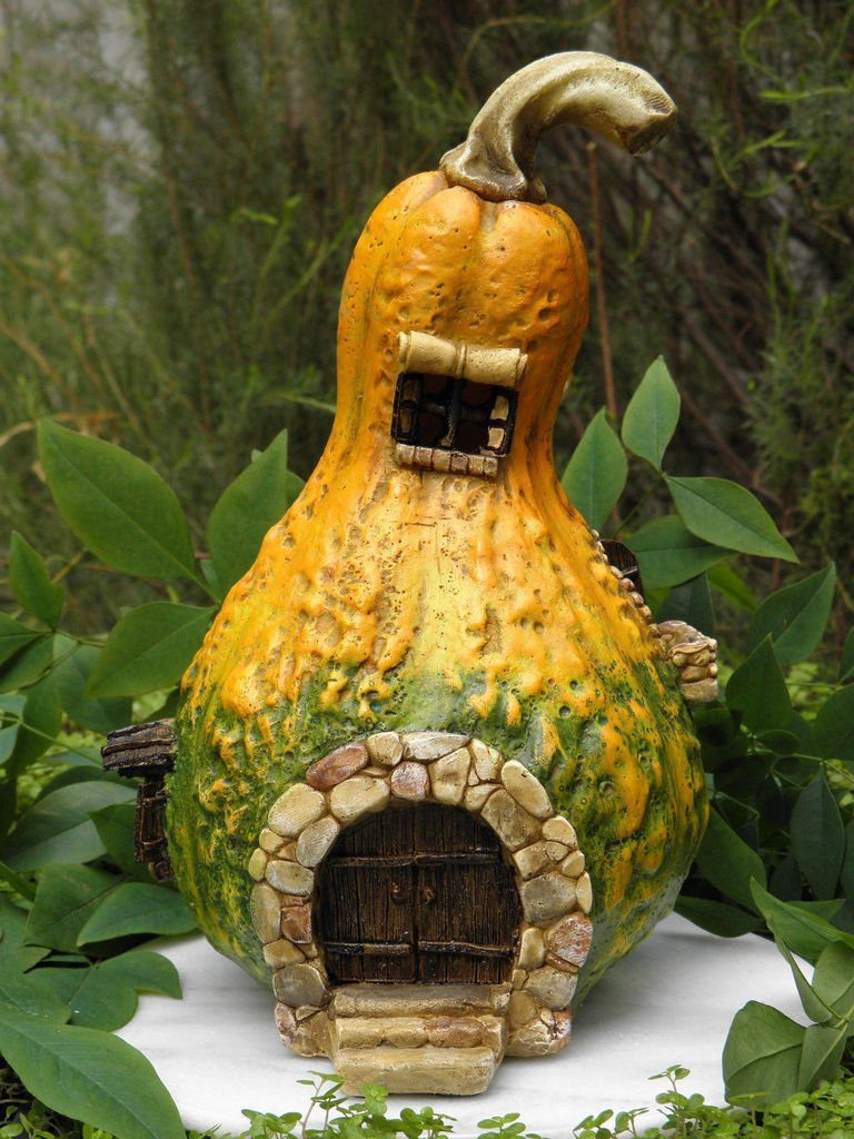 CHSGJY Large Gourd House Cottage with Light Miniature Dollhouse Fairy Garden Accessories