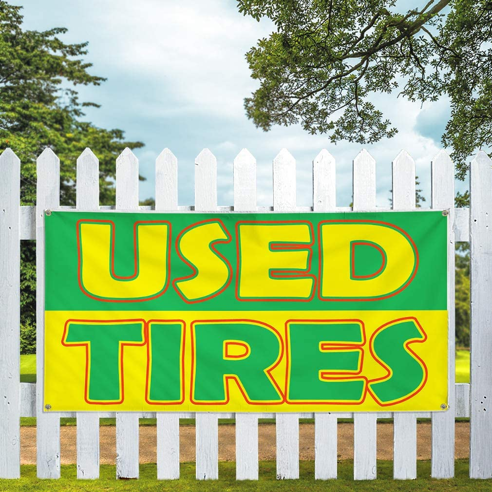 Vinyl Banner Sign Used Tires Green Yellow Business Car Marketing Advertising Grey 44inx110in One Banner Multiple Sizes Available 8 Grommets