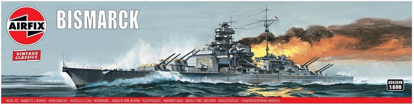 Airfix Bismarck 1:600 Vintage Classics Military Naval Ship Plastic Model Kit A04204V