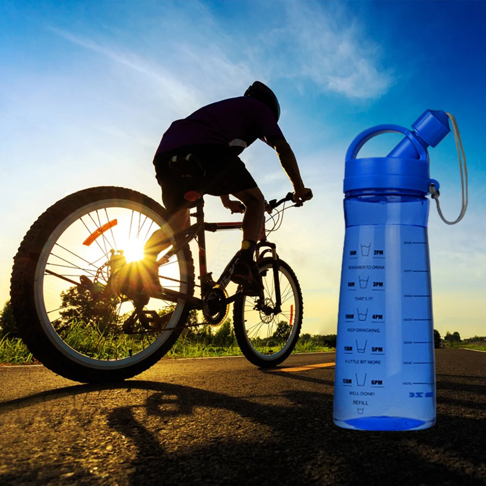 Botella Agua BPA 1L / 1000ml Botella Azul Deportiva Portatil Plastic Water Bottle para Correr, Gimnasio, Alpinismo, Camping y Aire Libre