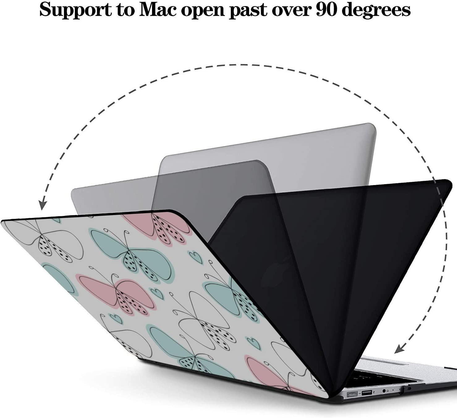 Laptop Case Spring Cute Butterfly Bee Flower Plastic Hard Shell Compatible Mac Air 11 Pro 13 15 MacBook Air Shell Protection for MacBook 2016-2019 Version
