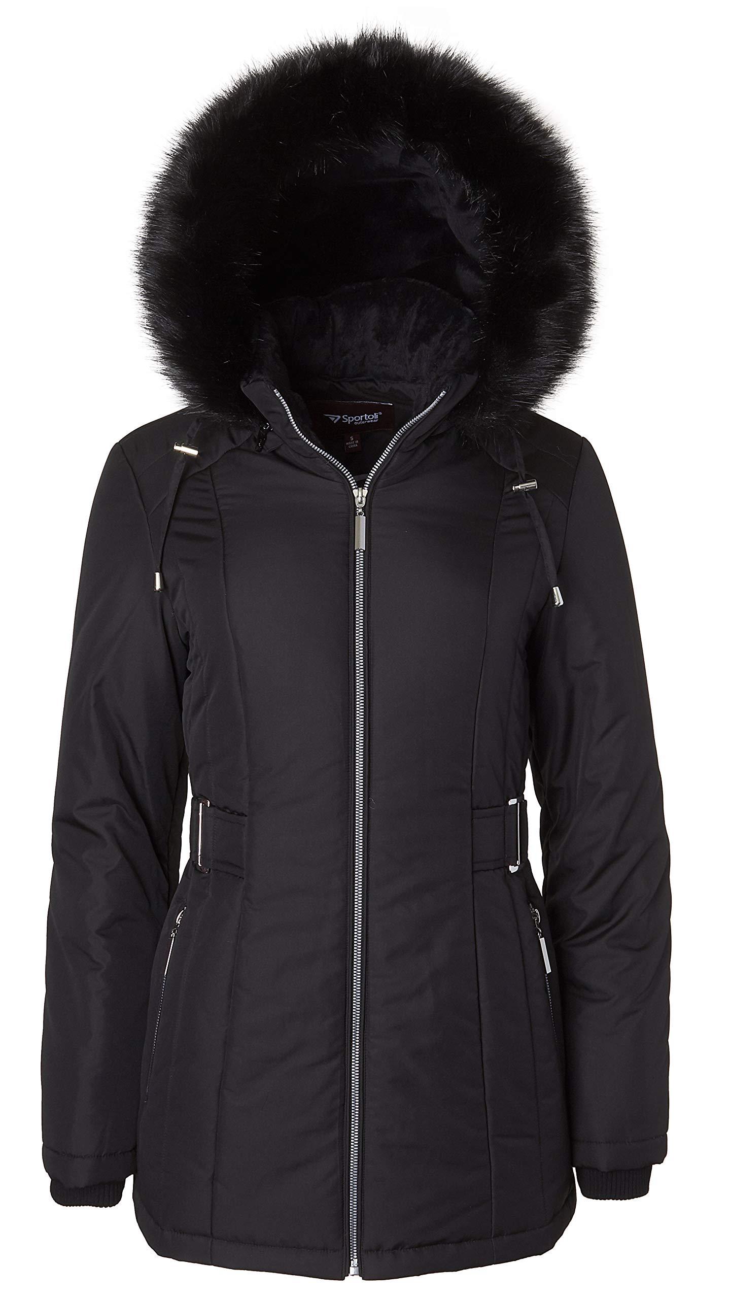 Women's Midlength Down Alternative Puffer Coat Fur Trim Plush Lined Detachable Hood - Black (Small)
